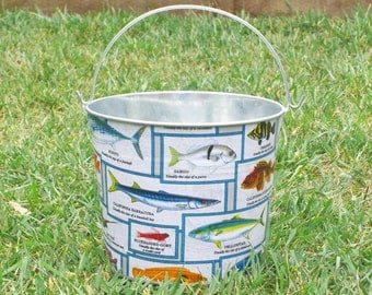 SALE Gone Fishing Galvanized Metal Jr. Bucket - Crafted and Ready for Shipping