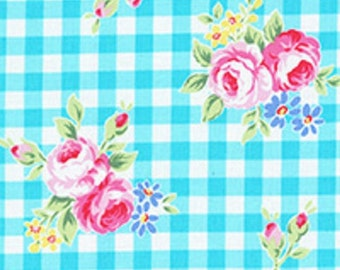 Aqua Turquoise White Gingham Plaid Rose Floral 31270 70 Fabric by Lecien Flower Sugar