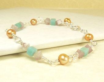 Light Blue, Light Purple, Gold Pearls Sterling Silver Wire Wrapped Bracelet. Amazonite, Lepidolite Gemstones. Gemstone Bracelet. Adjustable.