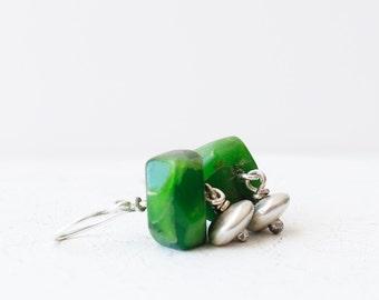 I Miss Green Earrings - Serpentine and Sterling Silver Dangle Earrings