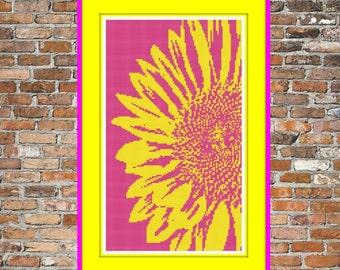 Pop Art Sunflower - a Counted Cross Stitch Pattern