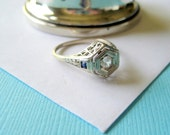 SALE..Original Art Deco 14kt White Gold and Diamond Floral  Filigree Sapphire Accent Engagement Ring