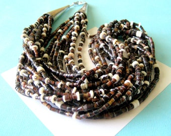 Santo Domingo Ten Strand Pinshell Heishi and Sterling Silver Necklace