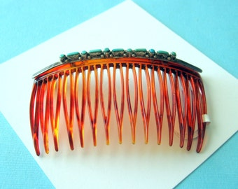Zuni Sterling and Turquoise Petit Point Hair Comb