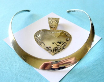 Large Vintage Taxco Sterling Silver Heart Pendant and Collar