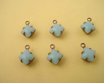 6 Vintage Light Blue  domed Calcedon Square Glass  Charms 1 Ring 6mm antique brass ox setting