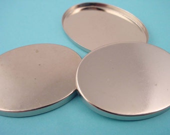 6 silver oval bezel cups high wall seconds dented dinged 40x30