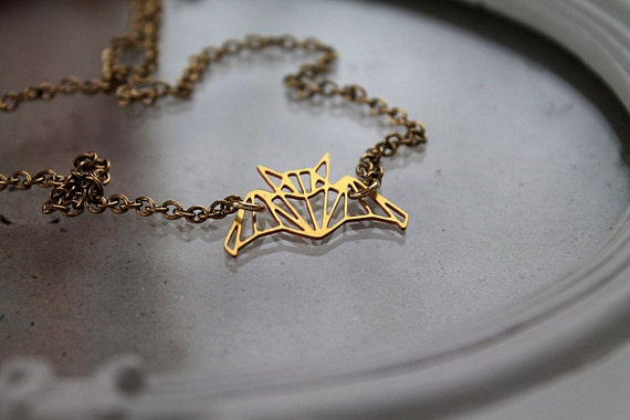 Golden bat  necklace fantasy filigree geometric