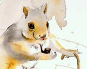 Valentine / Animal Art / Squirrel Painting / Archival print / Watercolor art / Home wall decor / Kids child's / Baby nursery / 10 x 10