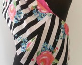 Baby Sling Carrier -Roses Stripes Pink Lining  - Second Items ships free