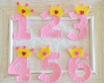 New! Set of 6pcs handmade felt crown birthday numbers, Birthday party! (FT1053)