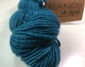 1 Skein Manos del Uruguay Teal Silk Wool Yarn DeStash