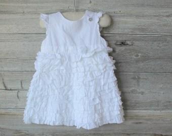 Vintage White Flower Girl Dress, White Ruffle , Toddler/Girls White Summer Frock, Flower Girl , Wedding, Brides Flower Girl