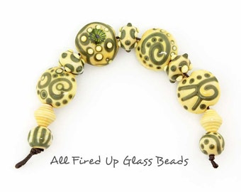 Opal Yellow and Green Swirls Scrolls Dots Murrini Lentil Set Spacers