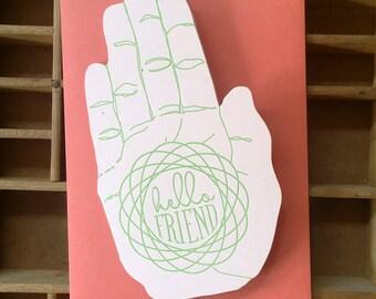 letterpress hello friend hand card