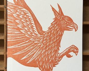 letterpress Griffin handmade notebook