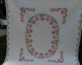 Vintage Hand Quilted Very Well Done Cross Stitch Pink Roses White Quilt