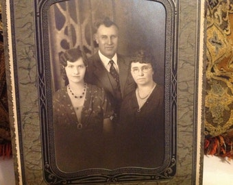 Vintage Cabinet Photograph of Family of Three