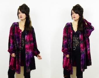 90s velvet blouse, tie dye top, oversized blouse, hippie top, crushed velvet blouse, boho top, tie dye blouse, festival top, boho jacket