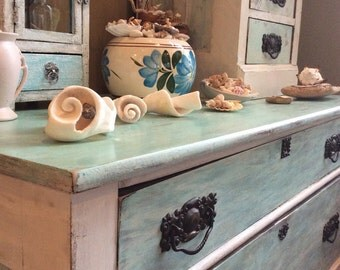 Vintage furniture SOLD example Mermaid chest chalk painted dresser antique furniture shabby chippy buffet