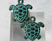 Small turtle charm, Green Patina, Greek Cast Metal, 2 Pieces M474