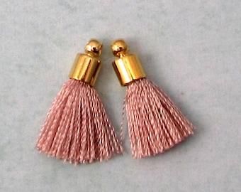 Tiny Silky Tassel Charm, Blush, Gold Cap, 17 MM, 2 Pieces, AG306