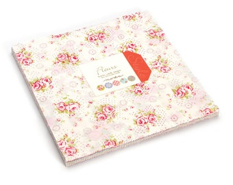 SALE 10 inch squares Layer Cake - FLEURS Moda Fabric by Brenda Riddle