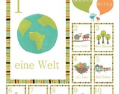Nature Themed Counting Wall Cards in German, Digital Download Prints, Number Wall Cards, 5x7,Wall Art for Kids,Gender Neutral Nursery