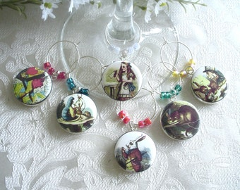Alice in Wonderland Wine & Drink Glass Charms - Set of 6