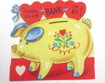 Vintage Yellow Anthropomorphic Piggy Bank Pig Children's Novelty Valentine Greeting Card
