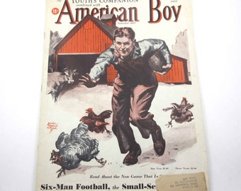 The Youth's Companion Combined with American Boy Vintage 1930s Magazine Barnyard Farm Chicken Cover Edgar Franklin Wittmack September 1937