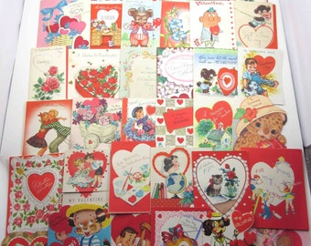 Vintage Assorted Used Valentine Greeting Cards for Crafting Set of 36 Lot B