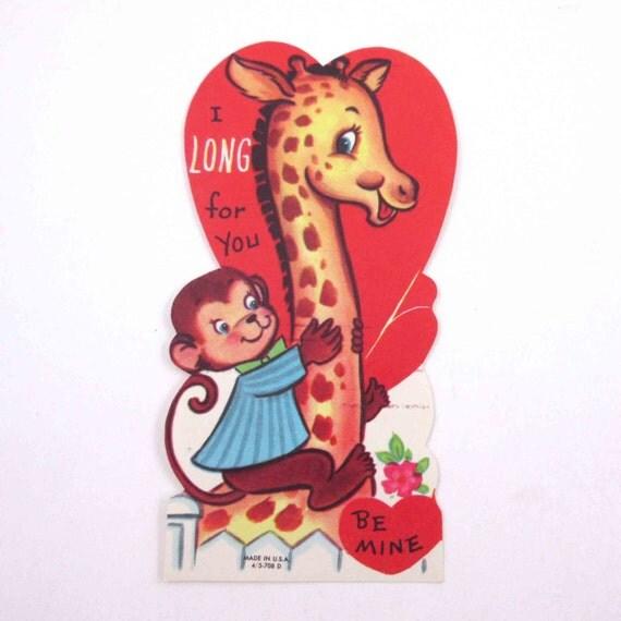 Valentines Day Vintage Giraffe Cards – Monkey Valentine Cards