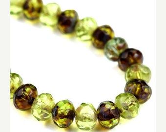 50% Off Sale Czech Glass Beads Fire Polished Gemstone Donuts 5x7mm Green Picasso Mix (12) CZF746