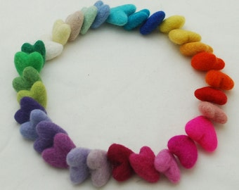 Assorted 100% Wool Felt Heart - 30 Count - Approx 3cm