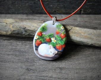 Cute Little mouse sleep in the garden Necklace, fused glass pendant, floral jewelry,  spring, strawberry and rat