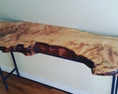 Custom Live Edge Slab Wood and Metal Hall Table