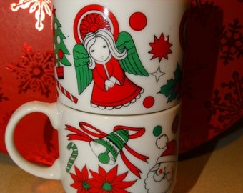 ON SALE Angel Porcelain Coffee Mugs, Hot Cocoa Mugs, Porcelain Made in Japan, Santa, Kris Kringle Cup, Poinsettia Flower