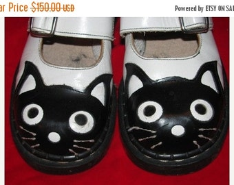 Valentines Day Sale Tredair Leather Cat Shoes, Girl's Footwear Black Cat, Tredair Leather Shoes, B&W,  Kitty Cat, Made in England, Kitten, C