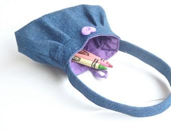 tiny denim purse. toy toddler handbag. little girl flower girl gifts. twin baby first birthday present.