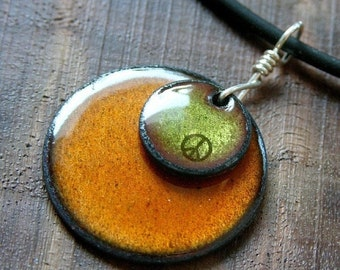 SALE Peace Sign Necklace Copper Enamel Necklace olive green and Persimmon orange enamel jewelry