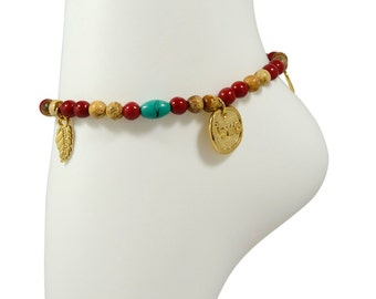 Jasper and Red Coral Stretch Anklet for Health and Good Luck