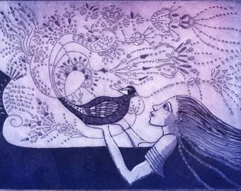 romantic art print, blue bird, zentangle wall art, blue art print, fairytale art print, bird wall art, bird art, pink, ultramarine blue