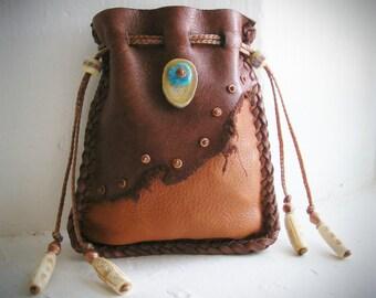 EVIL EYE PROTECTION deerskin leather Medicine Bag, Shaman Shamanic bag pouch, Spirit Pouch, 420 stash bag, deer antler, turquoise, copper