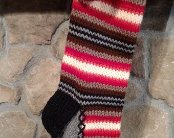 Hand Knit Christmas Stocking Red Orange Brown Gray Horizontal Stripes with Fir Tree Detail