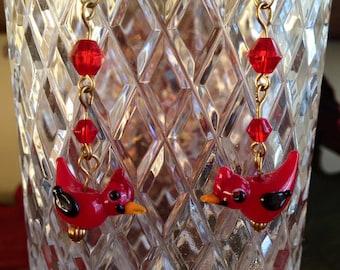 Red Cardinal Bird blown glass earrings.