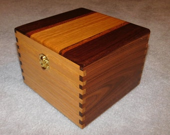 "Large Wood Recipe Box for 4"" x 6"" Index Cards -  Walnut and Oak"