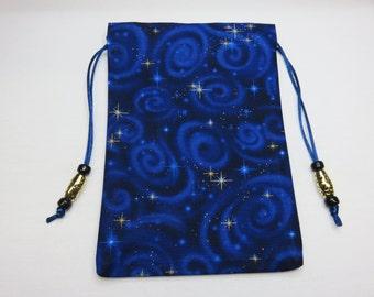 Celestial Swirls Blue Silk Lined Tarot Bag, Tarot Pouch, Handmade 4.75 x 7.25