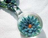 Lampwork Art Glass Blue Lotus Flower Hemp V Necklace - Boro Pendant Glass Bead Macrame Hemp Jewelry - Lampwork Glass Flower Pendant  - OOAK