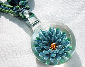 Lampwork Art Glass Blue Lotus Flower Hemp V Necklace - Boro Pendant Glass Bead Macrame Hemp Jewelry - Lampwork Glass Flower Pendant  - OOAK